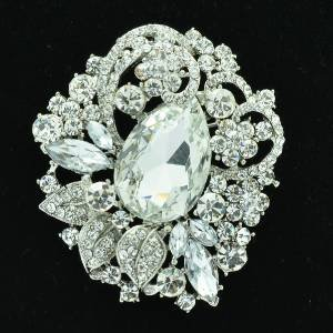 "Bridal Leaf Flower Brooch Pin 2.5"" W/ Clear Rhinestone Crystals Wedding 6173"
