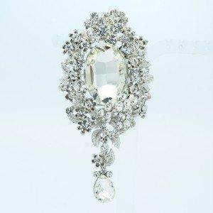 """Popular Clear Wedding Flower Brooch Pin 3.6"""" w/ Rhinestone Crystals 5057"""