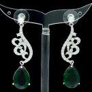 Dangle Green Zircon Drip Flower Pierced Earring W/ Swarovski Crystals 01624