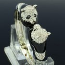 Rare Enamel 2 Head Panda Bracelet Bangle Cuff W/ Clear Swarovski Crystals