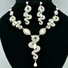 H-Quality Drop Clear 3 Snake Necklace Earring Set Swarovski Crystals SNA3161-2