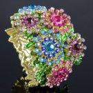 Pretty Multicolor Snowflake Flower Bracelet Bangle W/ Swarovski Crystals