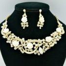 Rhinestone Crystals Trendy White Acrylic Rose Flower Necklace Earring Set 02677
