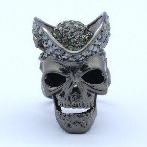 Goth Style Hat Skeleton Skull Ring Size Adjustable W/ Black Swarovski Crystals