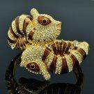 High Quality Clear Swarovski Crystals Sea Horse Bracelet Bangle W/ Brown Enamel