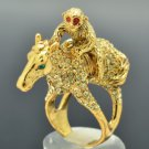 High Quality Monkey Horse Cocktail Ring Sz 8# Yellow Swarovski Crystals SR2041-2