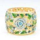 Exquisite Blue Enamel Leaf Flower Bracelet Bangle Swarovski Crystals SKCA1785M-3