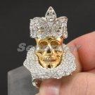 Halloween High Quality Clear Swarovski Crystals Crown Skull Ring Sz 7# SR1765-1C