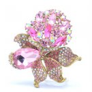 "Retro Flower Pendant Brooch Broach Pin 3.1"" W/  Pink Rhinestone Crystals 5851"