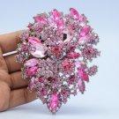 "Unique Flower Brooch Broach Pin 3.9"" W/ Light Rose Rhinestone Crystals 3905"