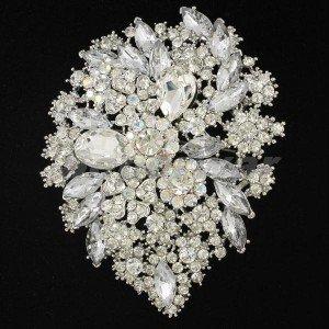 """3905 Wedding Clear Swarovski Crystals Flower Brooch Broach Pin 3.9"""""""