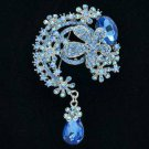 "Teardrop Blue Flower Brooch Pendant Pin 3.1"" w/ Rhinestone Crystals 6317"