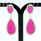 Fuchsia Rhinestone Crystals Fashion  Drop Dangle Pierced Earring 82318
