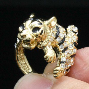 High Quality Wild Tiger Cocktail Ring Size 7# W/ Swarovski Crystals SN2903R-2