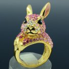 Gold Tone Pink Bunny Rabbit Cocktail Ring Size 7# W/ Swarovski Crystals SR1842
