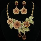 High Quality Swarovski Crystals Brown Rose Flower Necklace Earring Set JNA1849-2