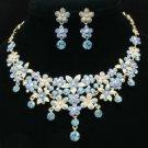 H-Quality Enamel Flower Necklace Earring Set W/ Blue Swarovski Crystal JNA2575-5