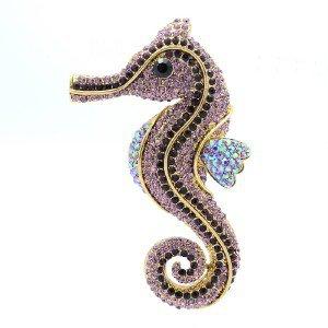 "3.6"" Sea Horse Brooch Pin W/ Purple Rhinestone Crystals Animal Vintage 5945"