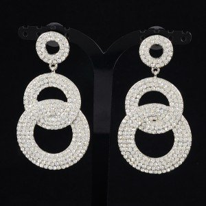 Pretty Wedding Dangle Circle Pierced Earring W/ Clear Rhinestone Crystal 203348