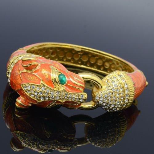 Orange Enamel Panther Leopard Bracelet Bangle Cuff W/ Clear Swarovski Crystals