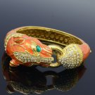 Orange Enamel Panther Leopard Bracelet Bangle Cuff W/ Clear Swarovski Crystals