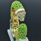 Rhinestone Crystals Vogue Leopard Bracelet Bangle Cuff W/ Green Acrylic 01009