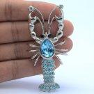 Fashion Lobster Brooch Pin W/ Blue Swarovski Crystals Silver Tone