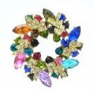 Rhinestone Crystals Multicolor Olive Branch Round Leaf Flower Brooch Broach Pin