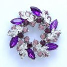 "Purple Round Olive Branch Leaf Flower Brooch Pin 2.1"" w/ Rhinestone Crystals"