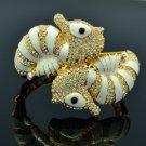 High Quality Clear Swarovski Crystals Sea Horse Bracelet Bangle W/ White Enamel