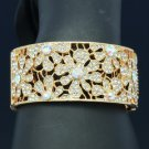Gold Tone Wedding Flower Bracelet Bangle w/ Clear Rhinestone Crystals E8657B