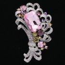 """Rhinestone Crystal Pink Floral Flower Brooch Broach Pin 3.1"""" W/ Silver Tone 6031"""