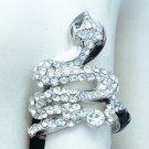 Silver Tone Clear Swarovski Crystal Enamel Cobra Snake Cocktail Ring Size 9#