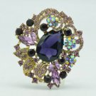 "Vintage Style Leaf Flower Brooch Broach Pin 2.5"" Purple Rhinestone Crystals 6173"