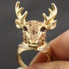 Swarovski Crystals Brown Christmas Deer Cocktail Ring Size 8# SR1816-1