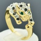 Gold Tone Cute Leopard Panther Cocktail Ring Size 9# w/ Swarovski Crystal 12478