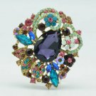 "Vintage Style Leaf Flower Brooch Broach Pin 2.5"" W/ Mix Rhinestone Crystals 6173"