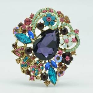 """Vintage Style Leaf Flower Brooch Broach Pin 2.5"""" W/ Mix Rhinestone Crystals 6173"""