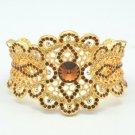 High Quality Brown Swarovski Crystals Flower Bracelet Bangle Cuff SKA1975M-1