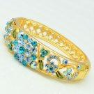 H-Quality Cluster Flower Bracelet Bangle w/ Blue Swarovski Crystals SKCA1400M