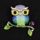 New High Quality Glasses Blue Owl Brooch Broach Pin W/ Swarovski Crystals