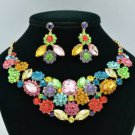 Marquise Rhinestone Crystals Multi Cluster Flower Necklace Earring Set 02475