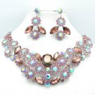 Marquise Purple Rhinestone Crystals Cluster Flower Necklace Earring Set 02475