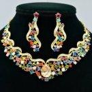 Popular Flower Riband Necklace Earring Set Mix Rhinestone Crystal Drop NC5149