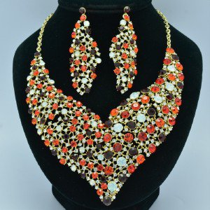 Rhinestone Crystals Vogue Red Floral Flower Necklace Earring Jewlery Sets 5540