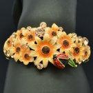 High Quality Ladybug Flower Bracelet Bangle Brown Swarovski Crystal SKCA1783M-2