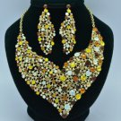 Brown Rhinestone Crystals Vogue Floral Flower Necklace Earring Jewlery Sets 5540