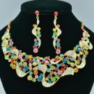 Romantic Riband Flower Necklace Earring Set W Mix Rhinestone Crystals 02669