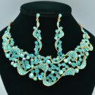 Romantic Blue Riband Flower Necklace Earring Set W Rhinestone Crystals 02669