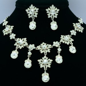 Wedding Bride Clear Flower Necklace Earring Jewelry Set Swarovski Crystal 2726A